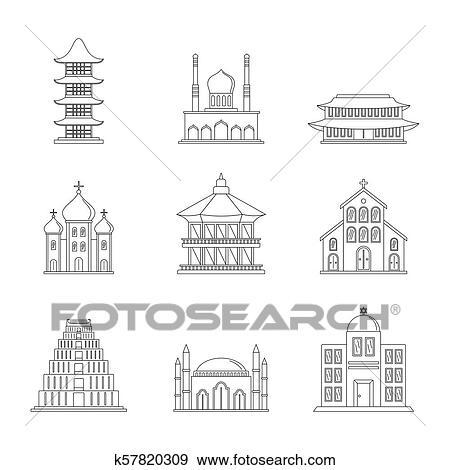 Clip Art Of Temple Tower Castle Icons Set Outline Style K57820309