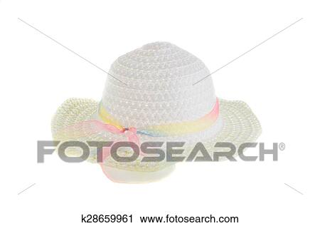 Stock Photography - White wicker hat for the summer on an isolated  background. Fotosearch - 18f91c7ba684