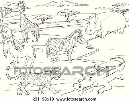 Clip Art Ausmalbilder Erzieherisch Spiel Afrikanisch Savanne