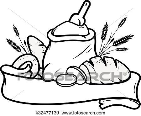 Clipart farine sac pain orge et signe k32477139 recherchez des cliparts des - Coloriage farine ...