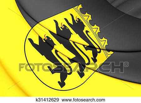 Flag Of Baden Wurttemberg Germany Stock Illustration K31412629 Fotosearch