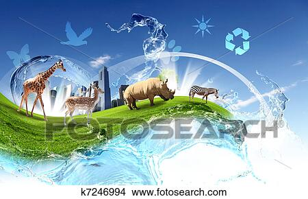 Drawings Of Green World With Different Animals Collage K7246994