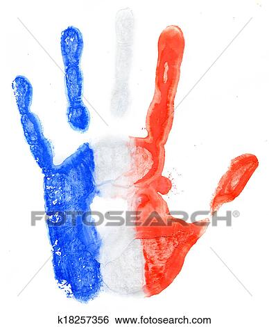 Handprint Of A France Flag On A White Stock Illustration