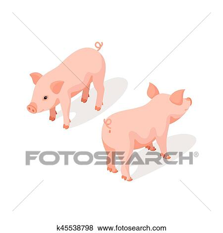 clip art of isometric 3d vector illustration of small pink cute pig