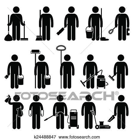 clip art reiniger mann putzen werkzeuge k24488847 suche clipart poster illustrationen. Black Bedroom Furniture Sets. Home Design Ideas