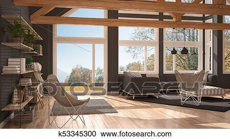 Living Room Of Luxury Eco House Parquet Floor And Wooden Roof Trusses Panoramic Window On Autumn Meadow Modern White And Gray Interior Clipart K53345300 Fotosearch
