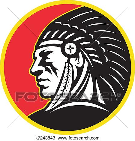 Native American Indian Chief Side Drawing K7243843 Fotosearch