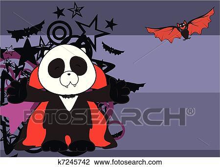 Orso panda dracula cartone animato backgrou clipart k