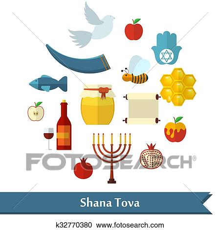 rosh hashanah shana tova or jewish new year flat icons set with honey apple fish bee bottle torah and other traditional items in round shape
