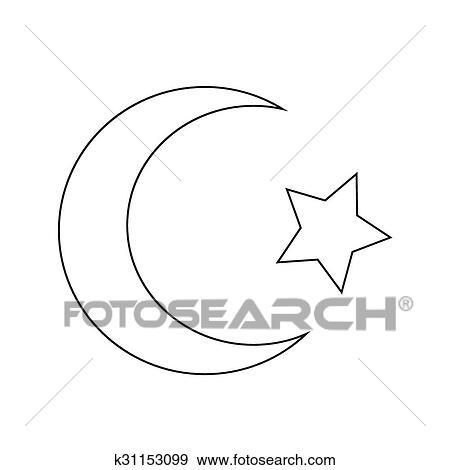 symbool van islam, ster, halvemaan, pictogram clipart | k31153099