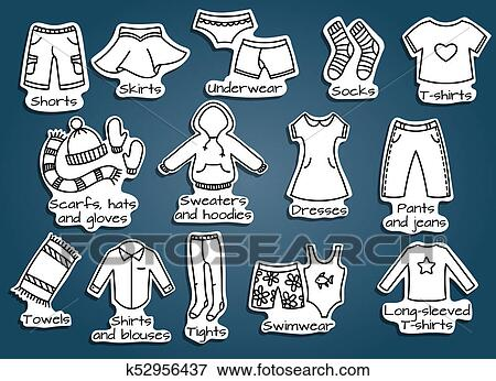 stock illustration of types of clothes vector icons k52956437