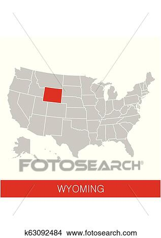 United States of America with the State of Wyoming selected. Map of the USA  vector illustration Clipart