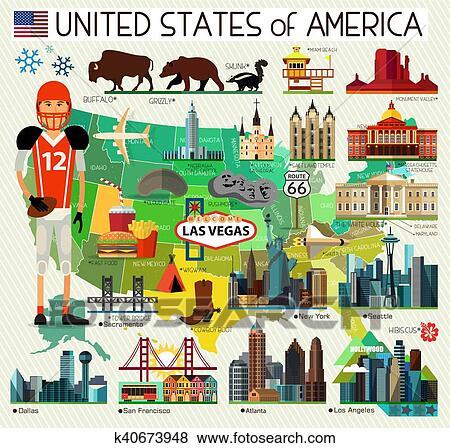 USA Travel Map. Clip Art