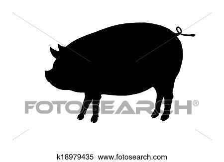 豚 シルエット イラスト K18979435 Fotosearch