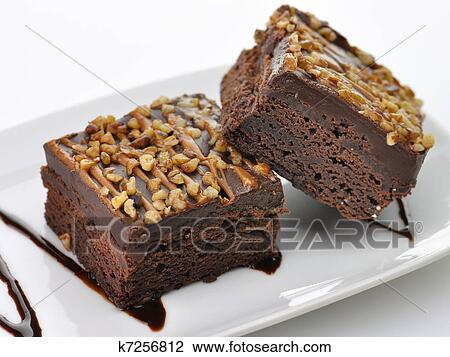 Stock Photo Of Brownies With Chocolate Sauce K7256812 Search Stock