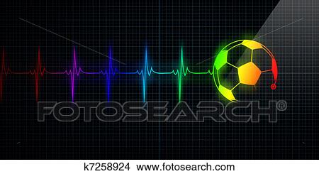 Heartbeat Line Art : Drawings of colorful heartbeat monitor with soccer ball k