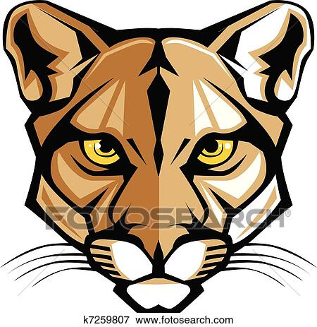 clip art of cougar panther mascot head vector g k7259807 search rh fotosearch com black panther head clip art Cartoon Panther Clip Art