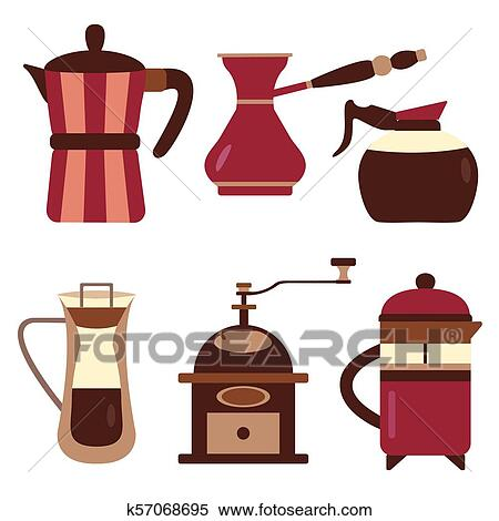 Drip Coffee Makers And Devices Icons Clipart K57068695 Fotosearch