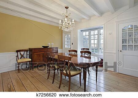 Stock Fotografie - eetkamer, met, witte, plafond, hout, balken ...