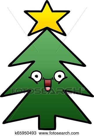 Clipart Of Gradient Shaded Cartoon Christmas Tree K65950493 Search