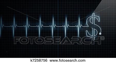 Heartbeat Line Art : Stock illustration of heartbeat monitor with dollar k