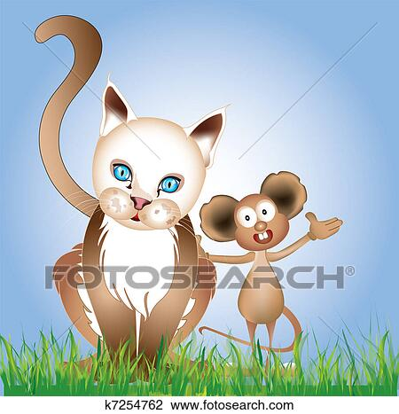 Klipart Kot I Mysz Przyjaźń K7254762 Szukaj Cliparty