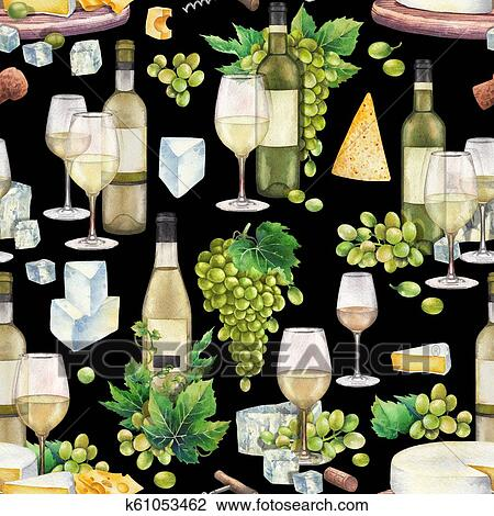 Watercolor Wine Glasses And Bottles White Grapes Cheese Cork Corkscrew Drawing K61053462 Fotosearch