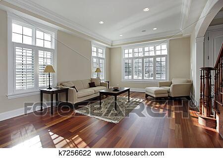 Holzfußboden Für Wohnzimmer ~ Stock foto wohnzimmer mit kirschen holz fussboden k7256622