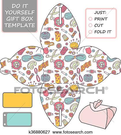 Favor Gift Box Die Cut Box Template Clip Art K36880627 Fotosearch