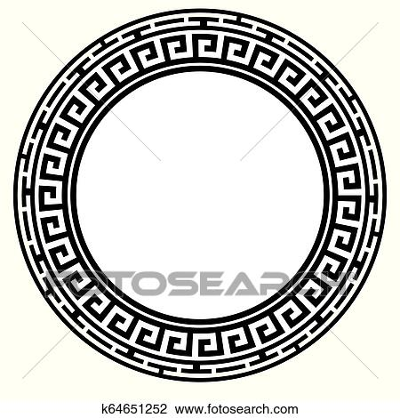 Clip Art Vector - Greek key round frame. typical egyptian, assyrian and  greek motives circle border. Stock EPS gg109616433 - GoGraph