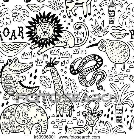 Clipart - moda, safari, seamless, patrón, con, selva, animales, en ...