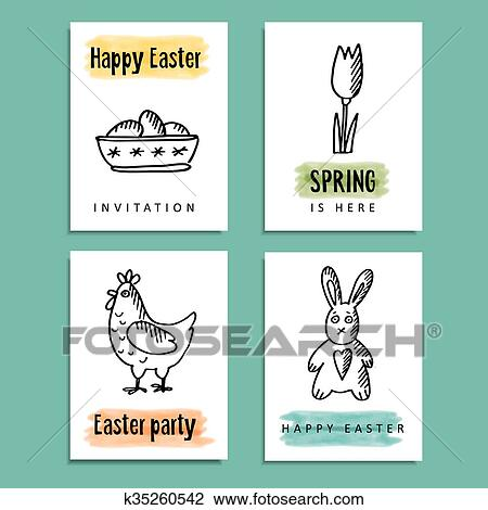 Clipart Of Set Funny Spring Easter Greeting Cards With Hand Drawn