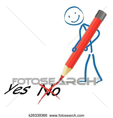 Stickman Rot Stift Ja Nein Clip Art K26339366