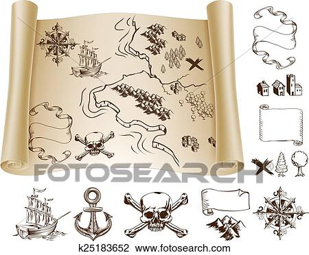 clipart of treasure map kit k25183652 search clip art