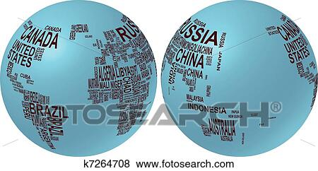 Clip art of world map globe with country name k7264708 search clip art world map globe with country name fotosearch search clipart illustration gumiabroncs Gallery