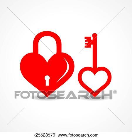Amor Cadeado Tecla Desenho Clipart