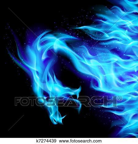 Blu Fuoco Drago Clip Art K7274439 Fotosearch