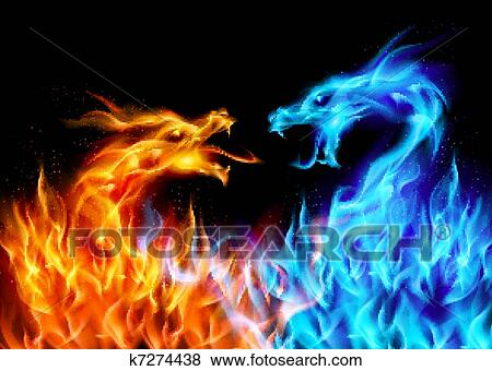 Blu Rosso Fuoco Draghi Clip Art K7274438 Fotosearch