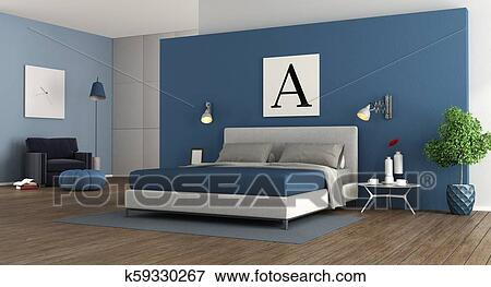 Blue modern master bedroom Stock Illustration