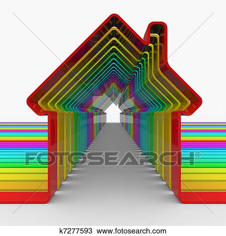 Colorful House Shapes Drawing K7277593