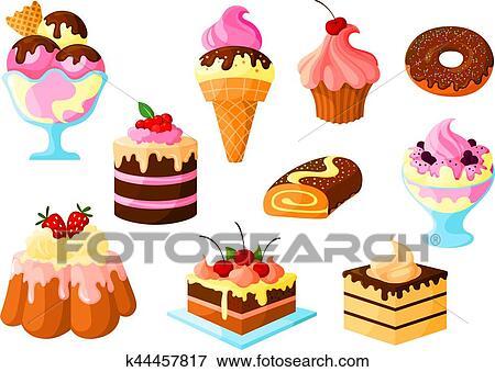 Clip art dessert torta dolci gelato vettore icone for Clipart frutta
