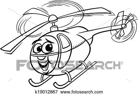 Clip Art Hubschrauber Karikatur Für Ausmalbilder K19012867