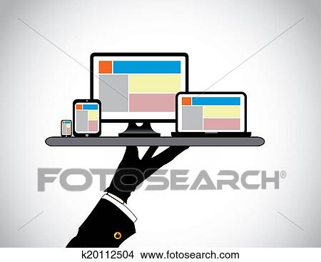 dessins main pr sentation ordinateur bureau ordinateur portable tablette intelligent. Black Bedroom Furniture Sets. Home Design Ideas