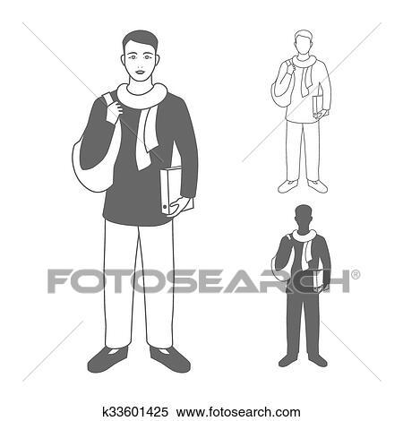 Clipart Portrait De Sourire Heureux Etudiant Ou Jeune Homme