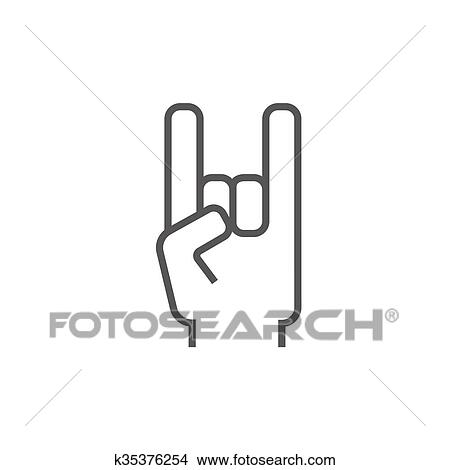 Clipart Of Rock And Roll Hand Sign Line Icon K35376254 Search