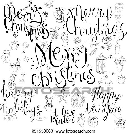 Clipart of Set with different calligraphy phrases to winter holidays ...