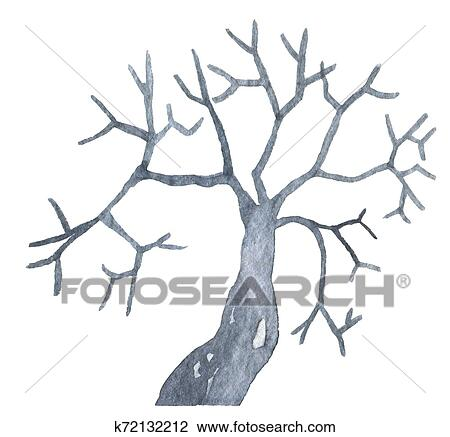 Black Tree With Branches Without Leaves Happy Halloween Party Hand Drawing Watercolor Isolated Clip Art Graphic Elements For Creative Design Printable Decor Drawing K72132212 Fotosearch Tree no leaves drawing at getdrawings | free download. black tree with branches without leaves