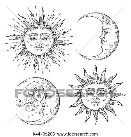 Boho Chic Flash Tatouage Conception Main Dessiné Art Soleil Et Croissant De Lune Set Antiquité Style Autocollant Conception Vecteur