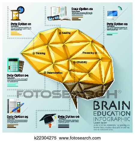 Clipart of Brain Shape Three Dimension Polygon Education Infographic ...