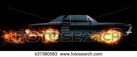 classic american muscle car wheels on fire - 3d illustration drawing